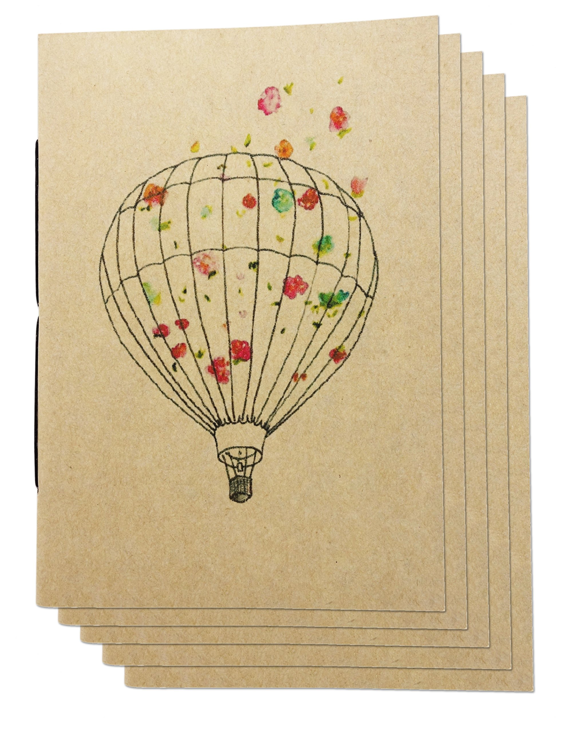 (Set of 5) A6 Dot Grid Handmade 4 x 5.75 inches Notebook/Balloon Flower Cover/60 Dot Page   Lay Flat Binding   Cream Paper