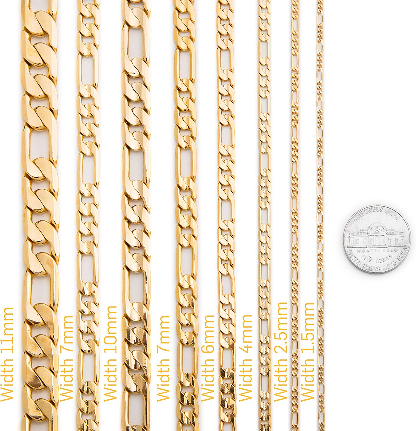 Free Lifetime Replacement Guarantee Made in USA 18-36 Inches Lifetime Jewelry 7mm Gold Figaro Chain with up to 20X More Real 24k Gold Plating Than Other Fashion Jewelry Necklaces