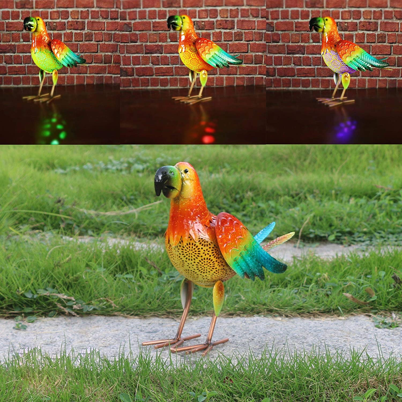 Parrot Solar Decor,Metal Solar Animal Garden Decor, Cute Parrot Figurines for Backyard Porch Path Lawn Flowerbed