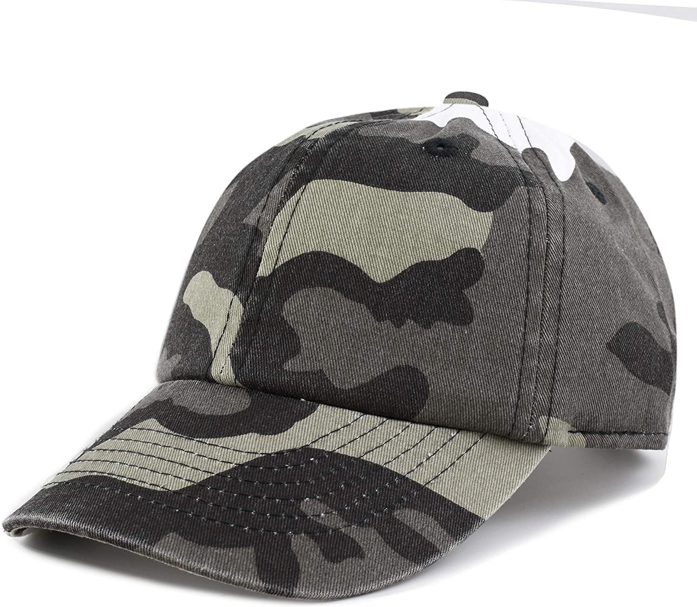 The Hat Depot Kids Washed Low Profile Cotton & Denim & Tie Dye Plain Baseball Cap Hat: Clothing