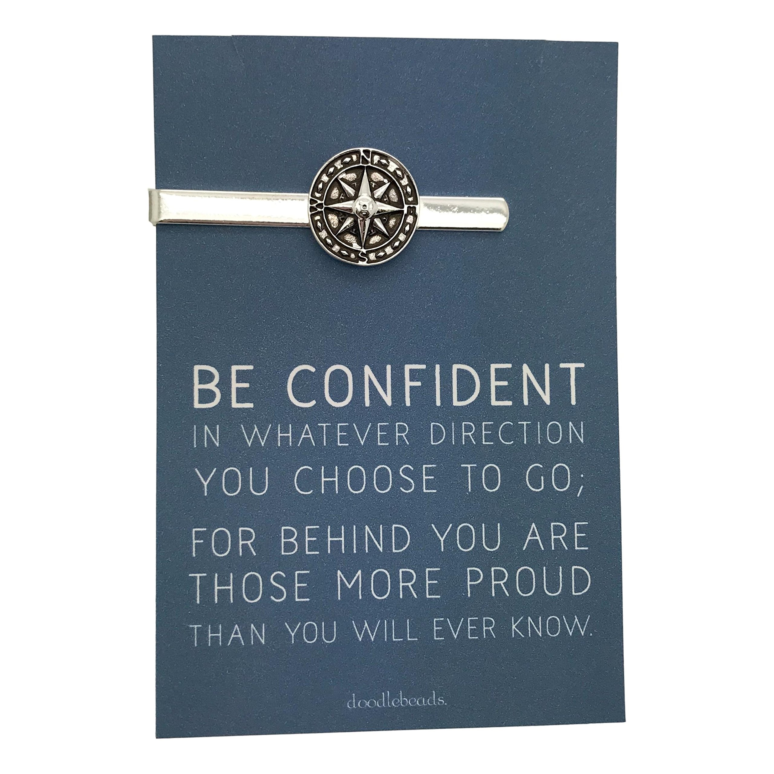 Doodle Beads Graduation gift, Compass Tie Bar Silver, Be Confident in Whatever Direction you choose to go, carded gift for him, inspirational gift, college graduate, motivational gift