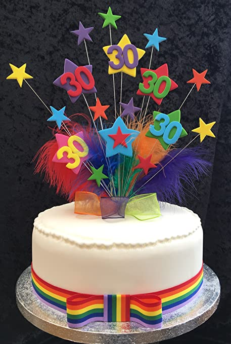 30th Multicoloured Star Birthday Cake Topper With Marabou Feathers