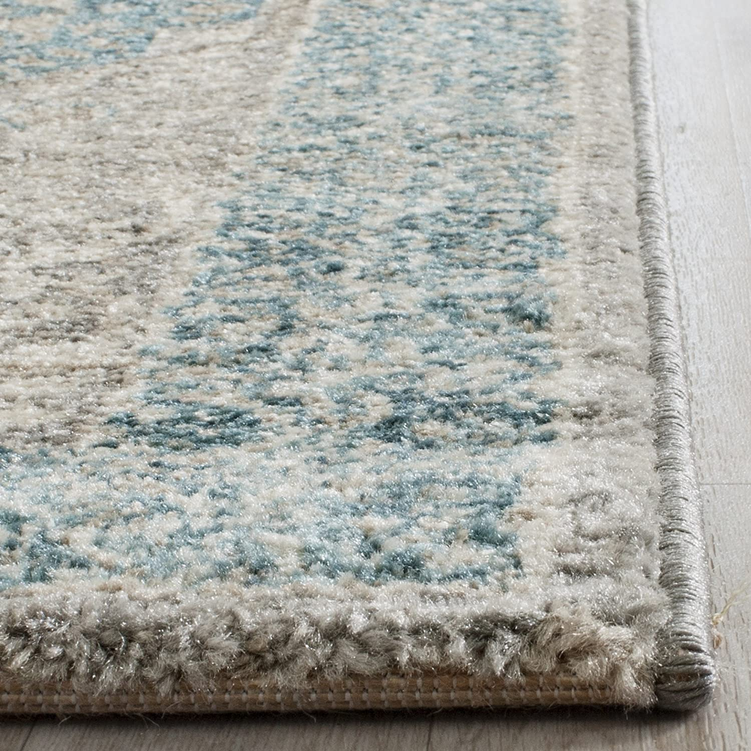 Safavieh Sofia Collection SOF365A Vintage Light Grey and Blue Center Medallion Distressed Runner (2'2