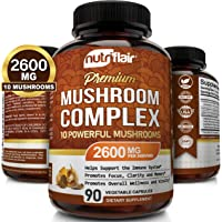 NutriFlair Mushroom Supplement 2600mg - 90 Capsules - 10 Mushrooms - Reishi, Lions Mane, Cordyceps, Chaga, Turkey Tail…