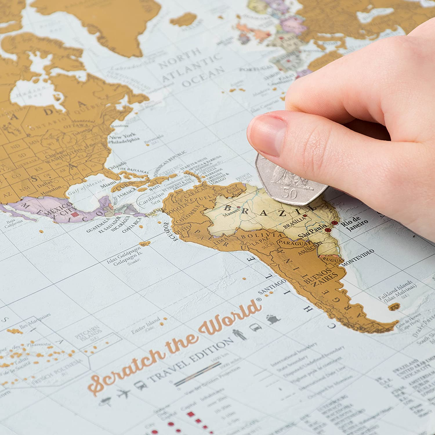 x 29.7 w a3 Travel Sized 42.0 White Wood Frame Scratch The World/® Travel Edition map Print h cm