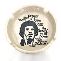 Ek Do Dhai Classic Jimi Hendrix Ceramic Ashtray (14 cm x 13 cm x 6 cm, Black and White)