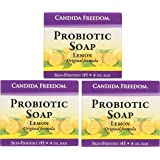 Candida Freedom 100% Natural Probiotic Soap-Anti fungal Soap For Skin Fungus,Jock Itch,Acne,Dandruff & Poison Ivy-Powerful Tea Tree & Lemon Antibacterial Body Soap -4oz Lemon Scent-Pack of 3