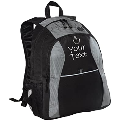delicate Personalized Grey Contrast Backpack with Two Lines of Embroidery