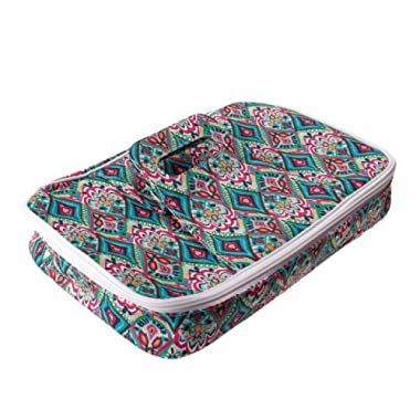 Insulated Casserole Carrier with Handle, Thermal Travel Tote Bag, Pretty Trellis Patterned Carrying Case (Springtime)