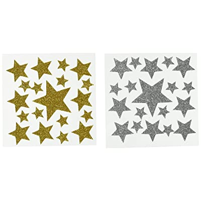 Darice Foamie Glitter Stars Stickers, 2 Sheets, Gold and Silver (106-1373): Arts, Crafts & Sewing