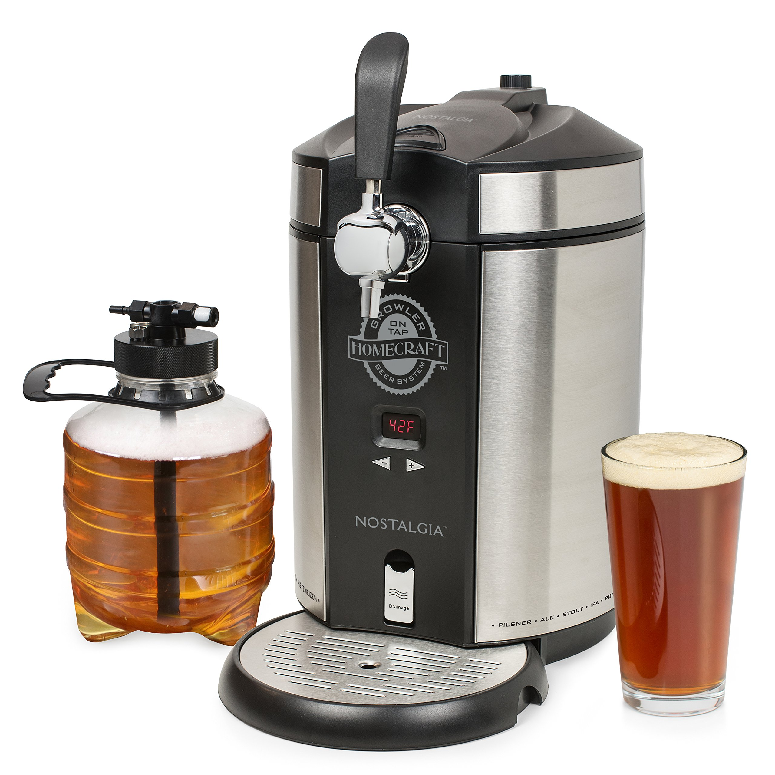 Nostalgia CBD5SS CBD5S Homecraft on Tap Beer Growler Cooler, Stainless Steel