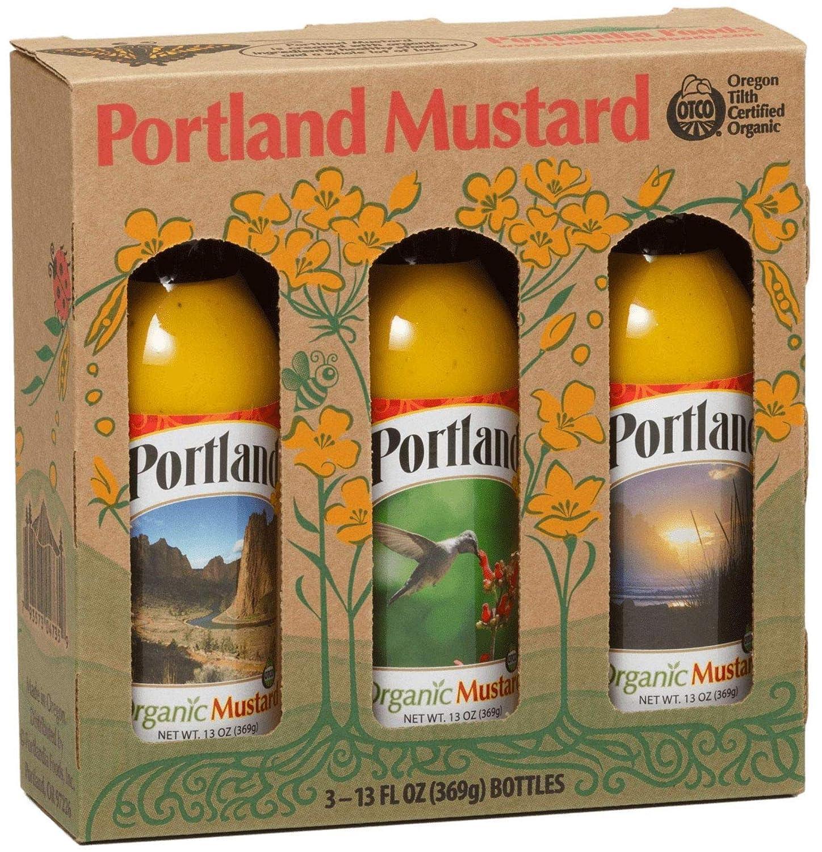 Portland Organic Mustard Gift Box by Portlandia Foods (13 fl oz - pack of 3) Naturally Gluten-free, Vegan, non-GMO, Made in Oregon USA