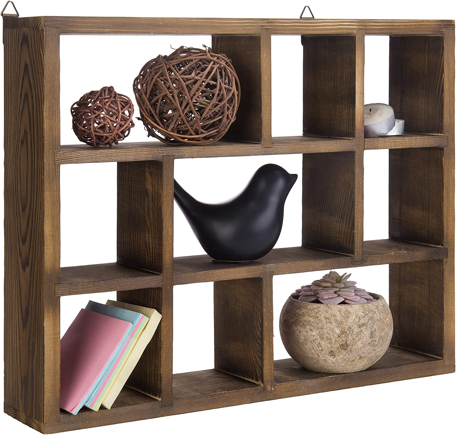 MyGift 9-Compartment Brown Wood Freestanding/Wall Mountable Shadow Box Shelf