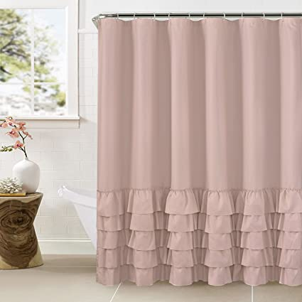 WestWeir Smocking Ruffle Shower Curtain With Hooks For Bathroom 72 X Inches Texture Fashion Microfiber