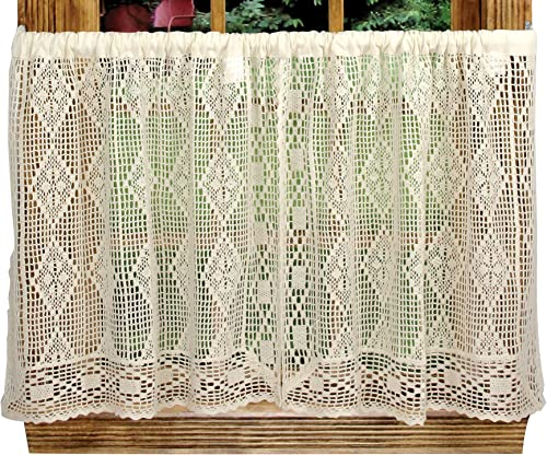 Diamond Crochet 58 Inches Wide x 24 Inches Long Cotton Tier Curtain, Beige