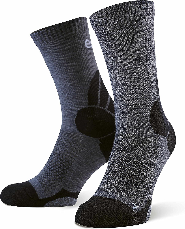 2 Pares para Actividades al Aire Libre umi Calcetines de Trekking para Hombres y Mujeres 43-46 Grey Eono Essentials Calcetines de Senderismo de Lana Merino Uso Diario