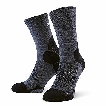 Eono Essentials - Calcetines de senderismo y trekking de lana merino para hombre y mujer (paquete de 2 uds.), tallas 39-42, Gris-Negro: Amazon.es: Deportes ...