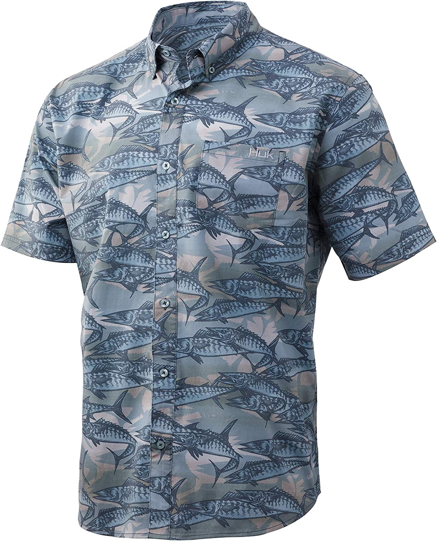 Sun Protection Button Down Performance Shirt with UPF 30 HUK Mens Kona Woven Short Sleeve Shirt