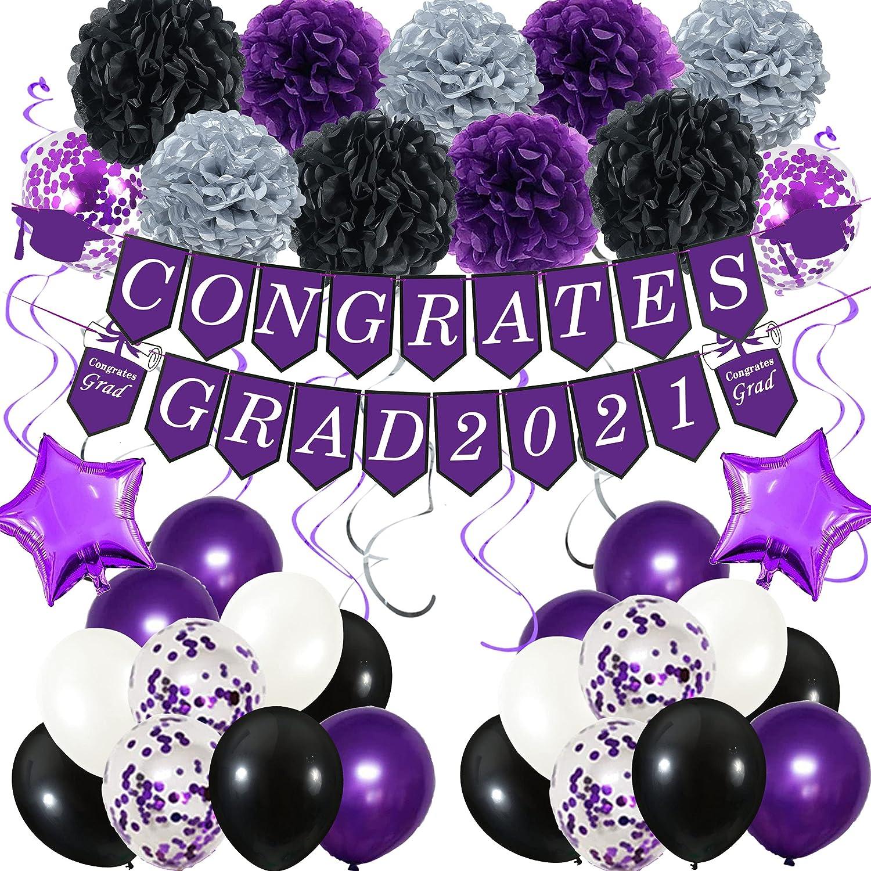 Purple Graduation Party Decorations, 2021 Congrates Grad Banner Purple Black Silver Paper Pompoms Hanging Swirl Star Foil Balloons Confetti Balloons for College School Graduations Party Decoration