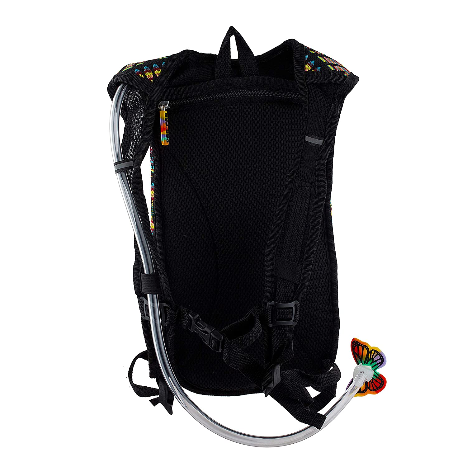 Perfect for Music Festivals and Camping Black and Rainbow Woven Tribal Design Neon Tribe Dan-Pak Rave Hydration Pack 2l Carnival Inc.