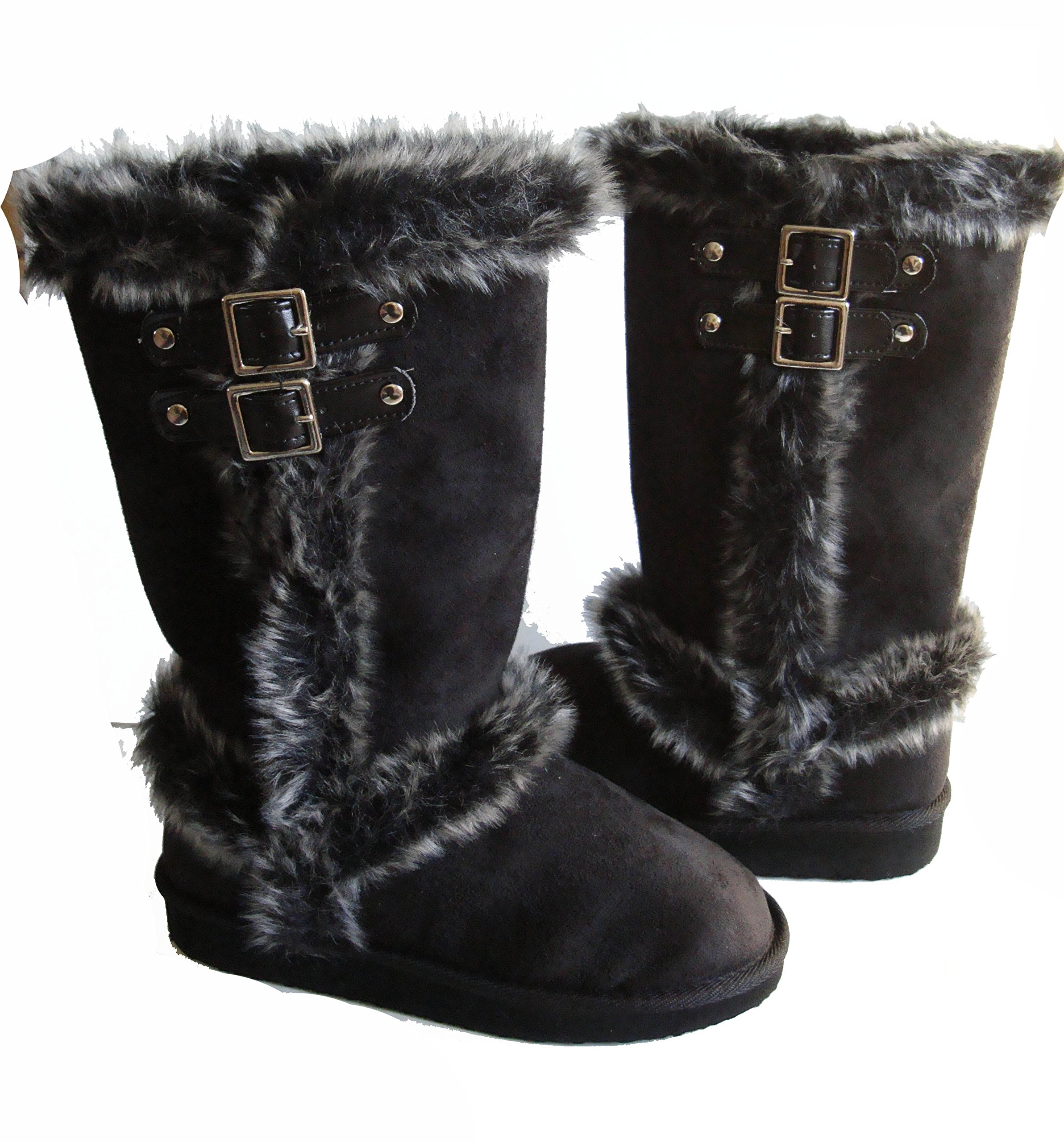 Qupid/Top Moda Faux Fur Lined Mid-calf Boots with Buckles for Women (5.5, Black)