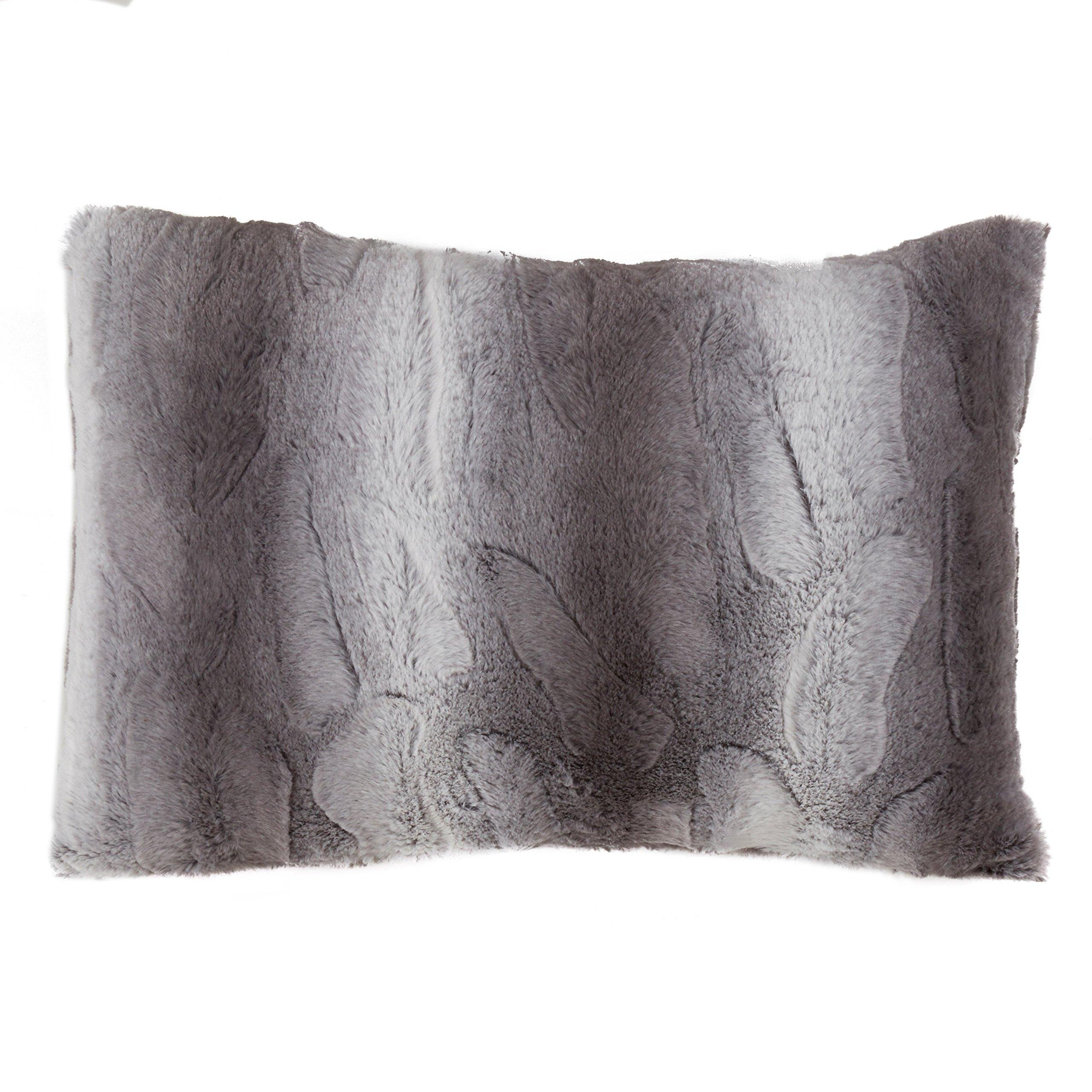 SARO LIFESTYLE Wilma Collection Timeless Animal Print Faux Fur Poly Filled Throw Pillow, 14'' x 20'', Grey