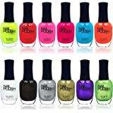 High Quality Long Lasting Quick Drying No Chip Professional 12 Piece Urban Nail Polish Set, Includes Pearl, Glitter, and High-shine Colors