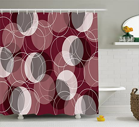 Maroon Shower Curtain By Lunarable Retro Skinny Ring Shapes Overlapping Circles Funky Groovy Artistic Optical