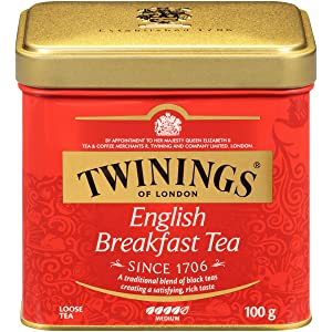 Twinings of London English Breakfast Loose Tea Tins, 3.5 Ounce (Pack of 6)