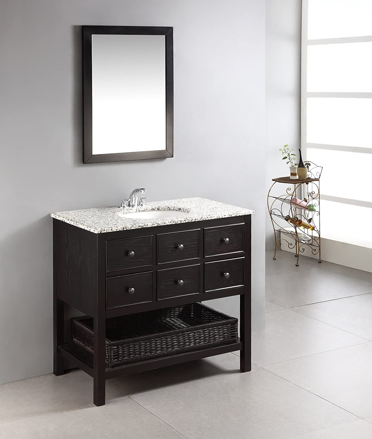 simpli home burnaby 36 bath vanity with dappled grey granite top black bathroom vanities amazoncom