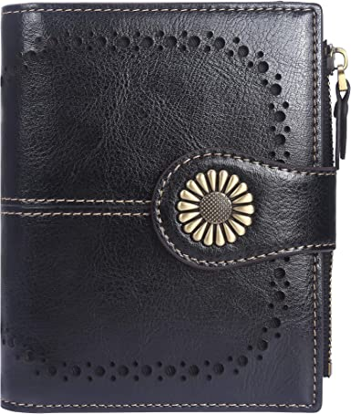 Designer Cowhide Womens Small Leather Wallet ID Cards Cash Business Card Holder