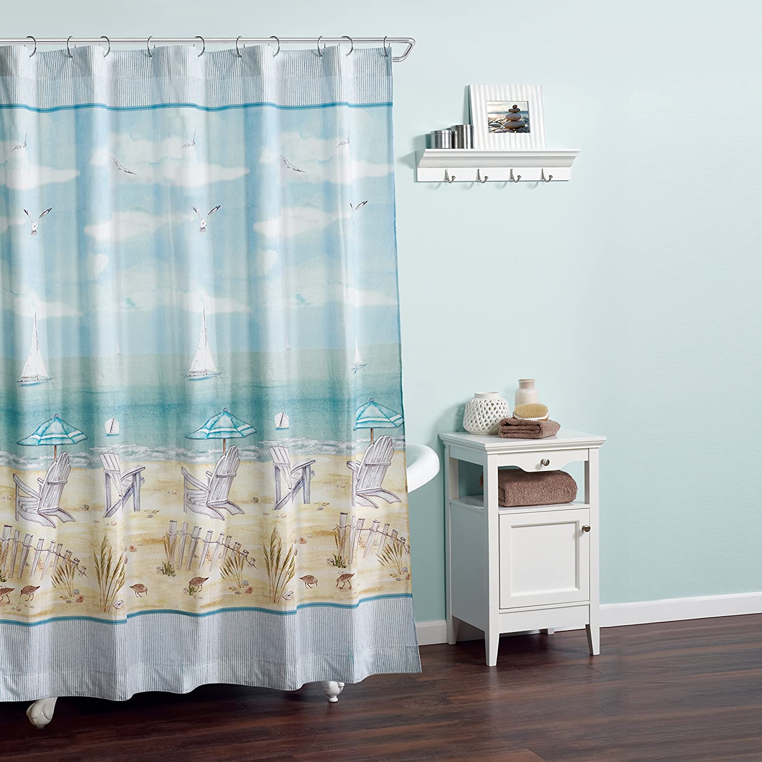Amazon Zenna Home India Ink Seaside Serenity Shower Curtain Coastal Beach Kitchen