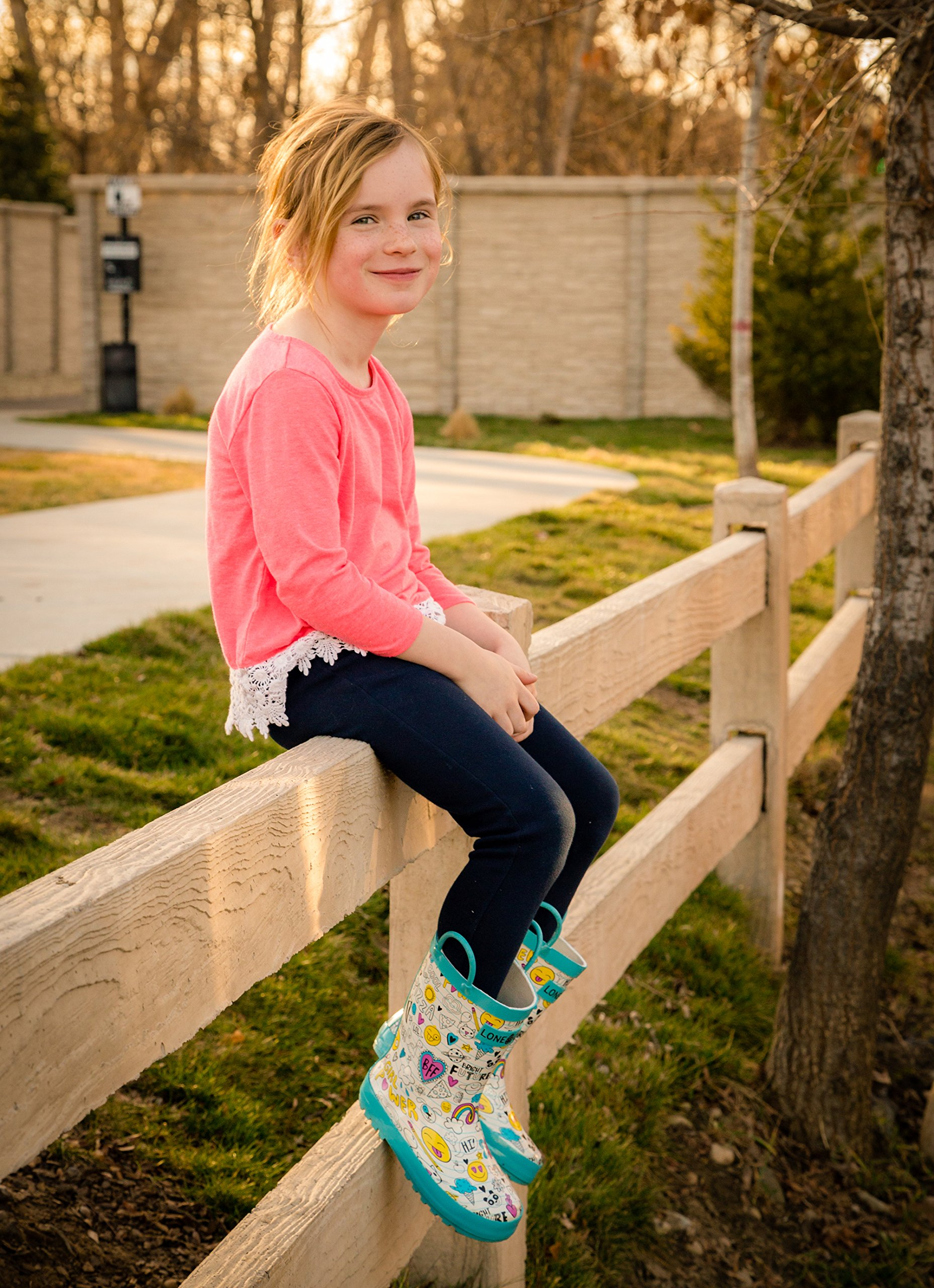 LONECONE Children's Waterproof Rubber Rain Boots in Fun Patterns with Easy-On Handles Simple for Kids, Oodles of Doodles, Toddler 8 by LONECONE (Image #7)