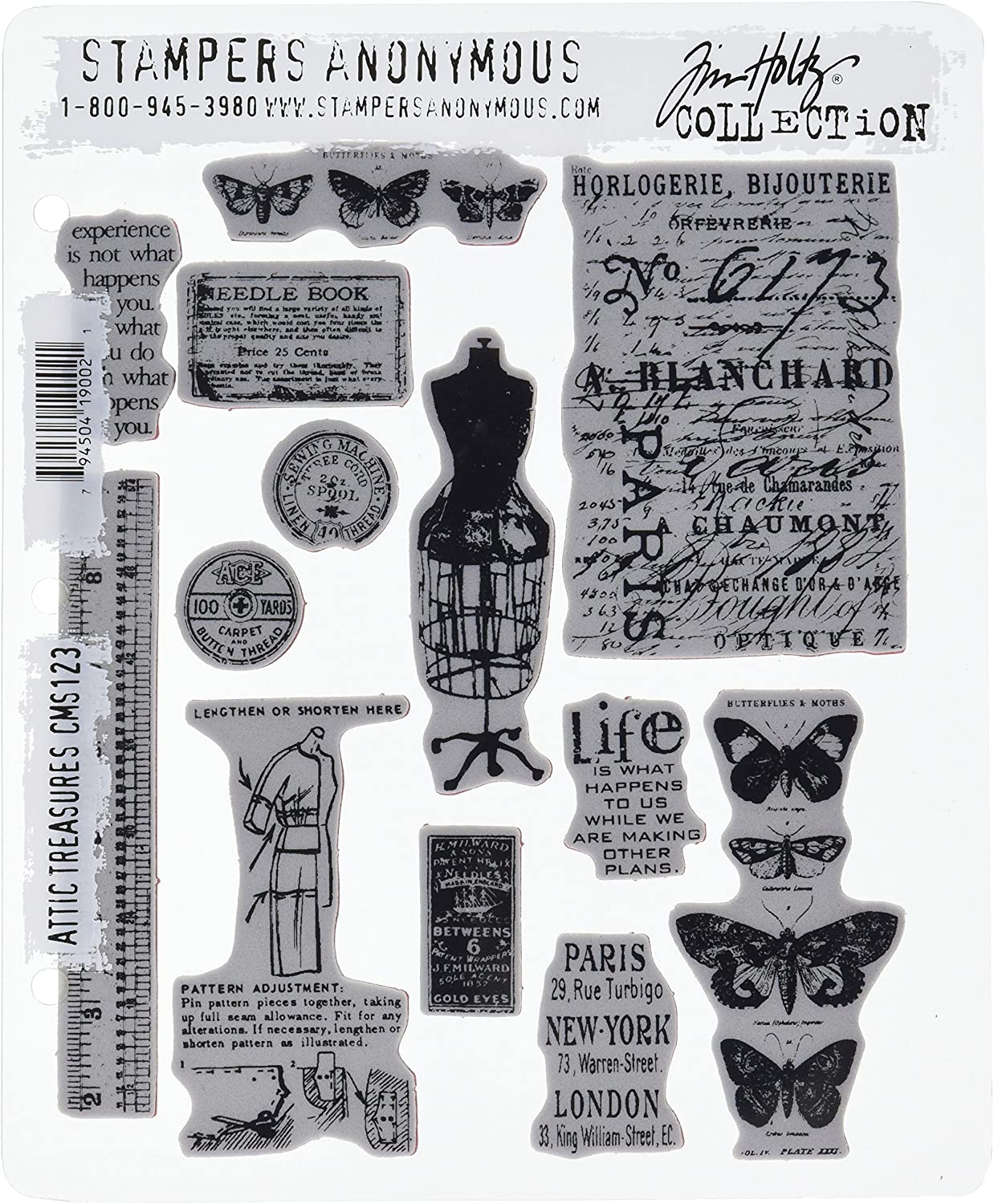 Mini Classics Stampers Anonymous Tim Holtz Cling Rubber Stamp Set 7 by 8.5-Inch