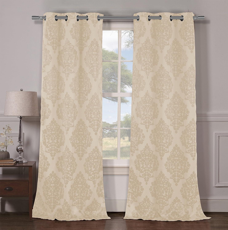Grayson silver gray jacquard fabric cloth bathroom bath shower curtain - Amazon Com Duck River Textiles Catalina Blackout Grommet Pair Panels Champagne Home Kitchen