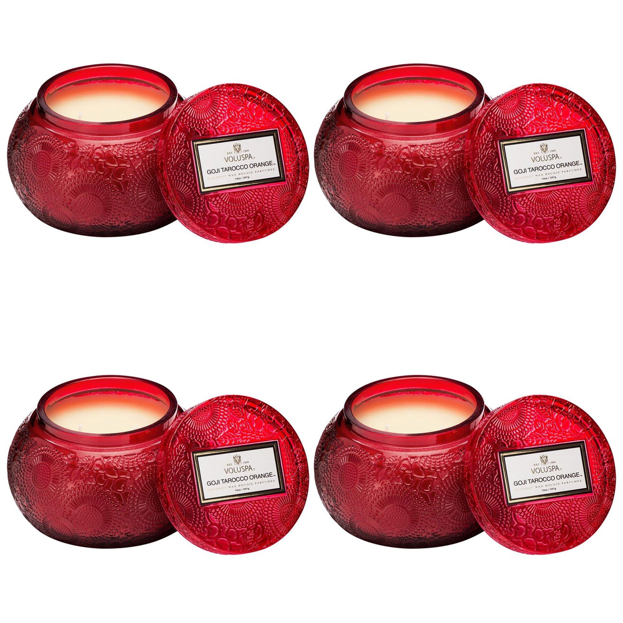 Voluspa Goji Tarocco Orange Embossed Glass Chawan Bowl Candle (4pk)