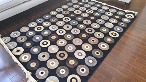 Silk Black Ivory Grey Brown New Music Vinyl Records Circles Area Rugs Ultra Low Pile 8 3×11 5 250x350cm