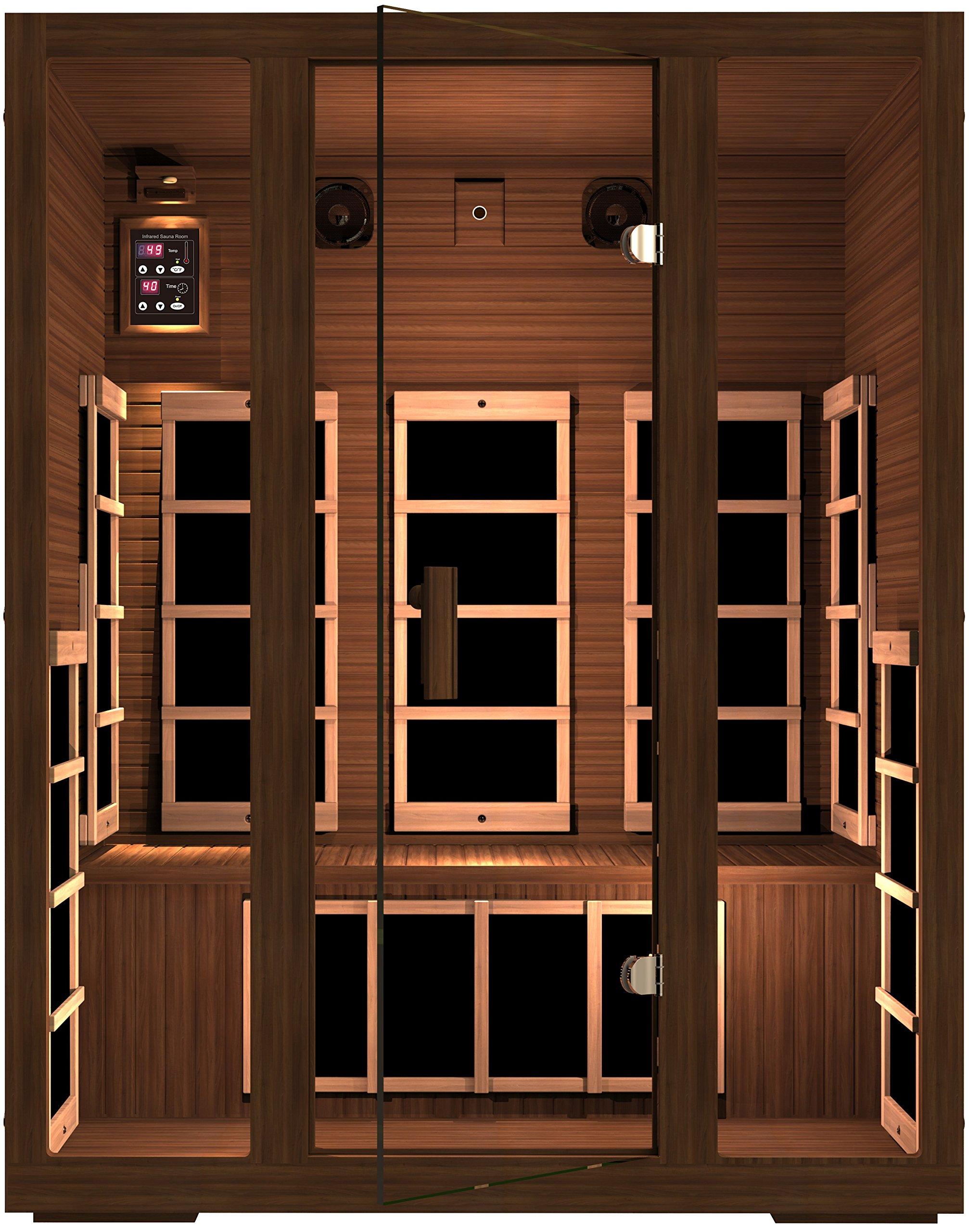 JNH Lifestyles Freedom 3 Person Canadian Western Red Cedar Wood Far Infrared Sauna, 8 Carbon Fiber Heaters, 5 Year Warranty