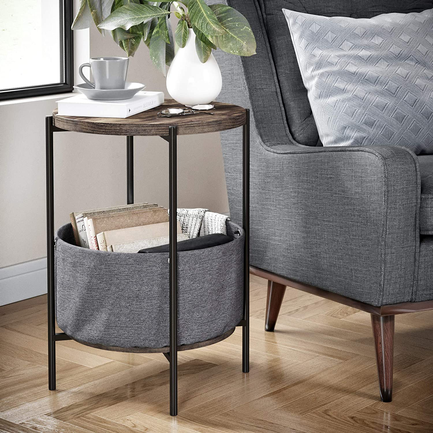 Nathan James 32201 Oraa Round Wood Side Table with Fabric Storage, Gray/Black
