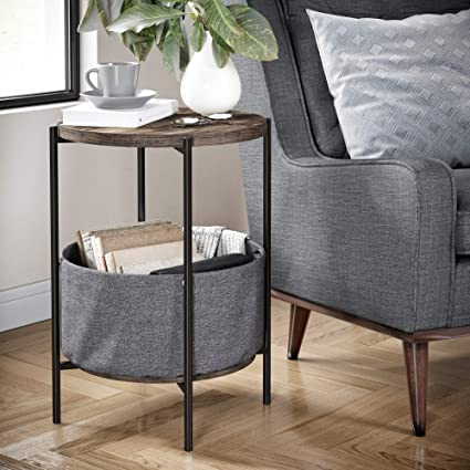 425ab15af0d6 Amazon.com  Nathan James 32201 Oraa Round Wood Side Table with Fabric  Storage