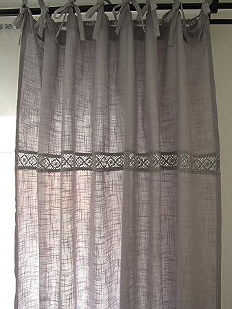 VERONA*grau 2x(120x240cm) Spitze Vorhänge Vorhang Gardinen Shabby