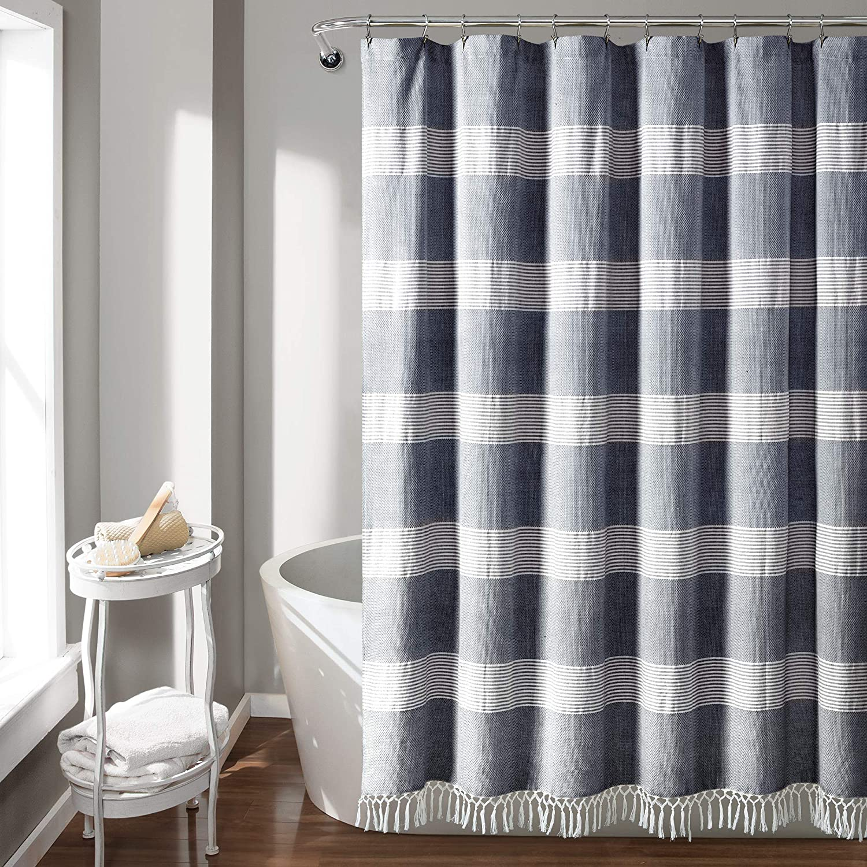 Lush Decor, Navy Tucker Stripe Yarn Dyed Cotton Knotted Tassel Shower Curtain, 72
