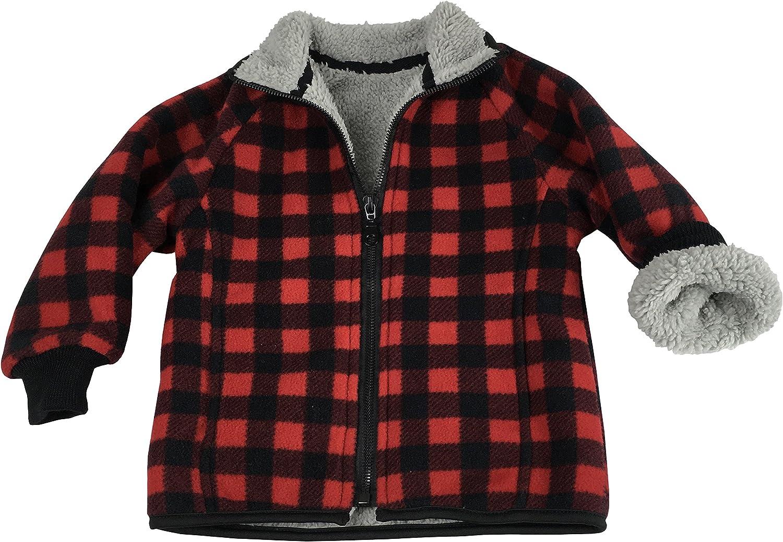 NIce Little Boys and Baby Sherpa Lined Buffalo Plaid Fleece Winter Jacket