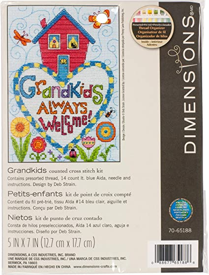Dimensions Grandkids Always Welcome 5 x 7 Counted Cross Stitch Kit 14 Count Light Blue Aida Cloth
