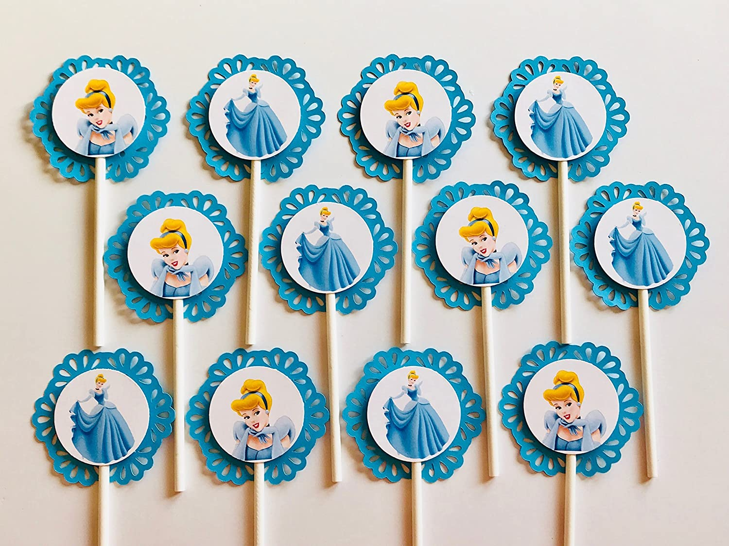 12 CINDERELLA Cupcake Toppers - Party Picks - Disney