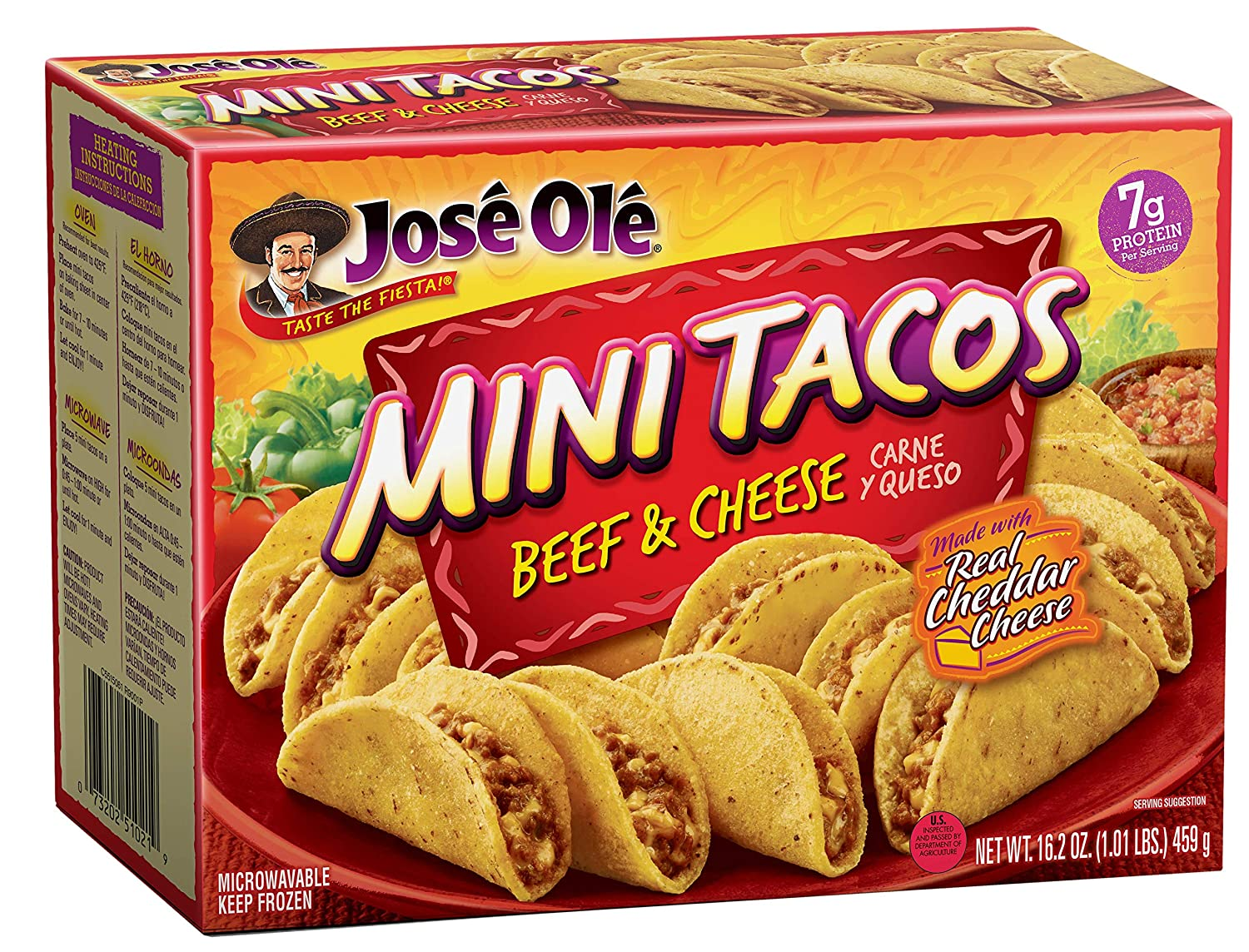 Jose Ole Mini Tacos Frozen, Beef & Cheese, 16.2 Ounce