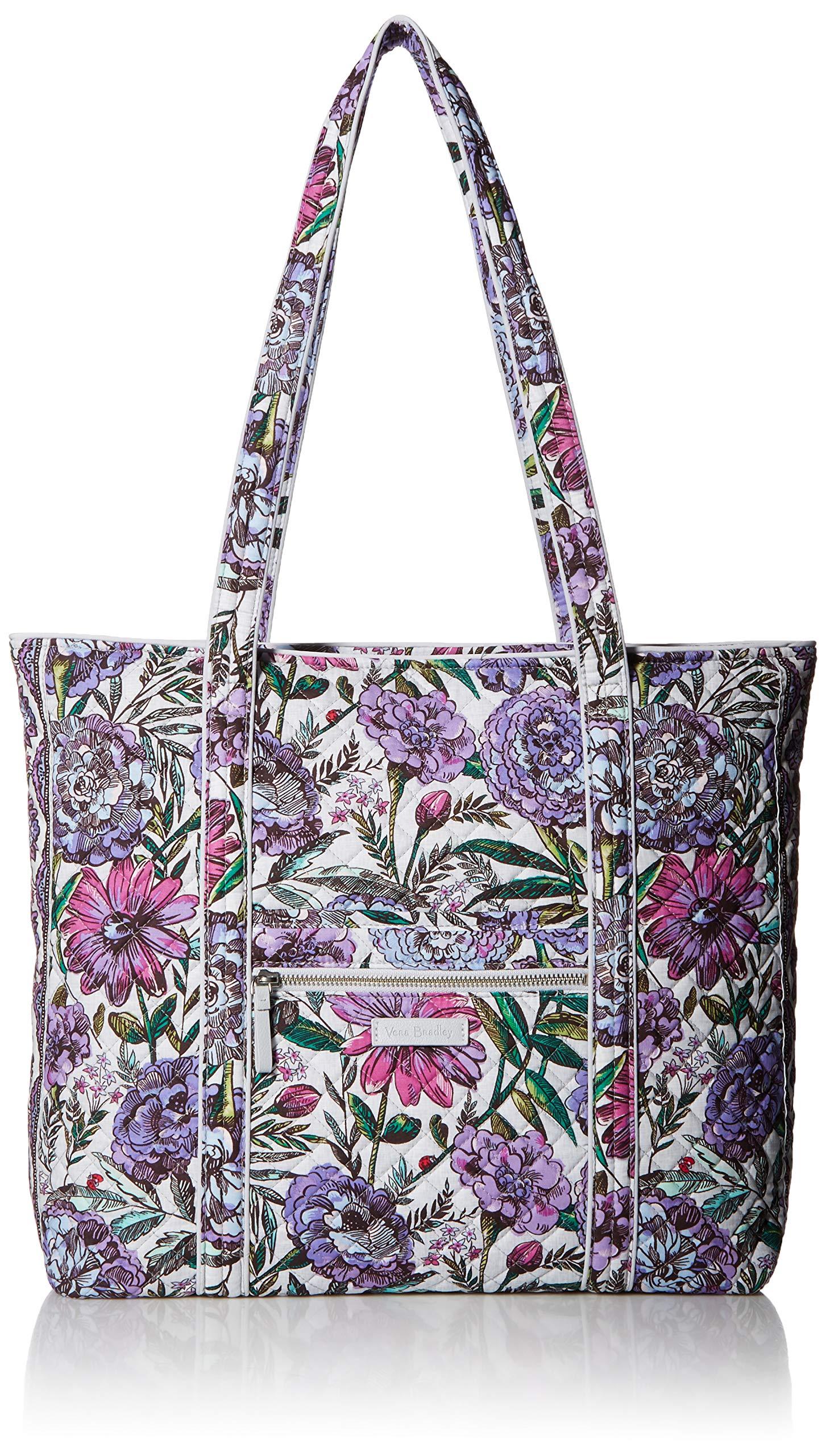 Vera Bradley Iconic Vera Tote, Signature Cotton, Lavender Meadow
