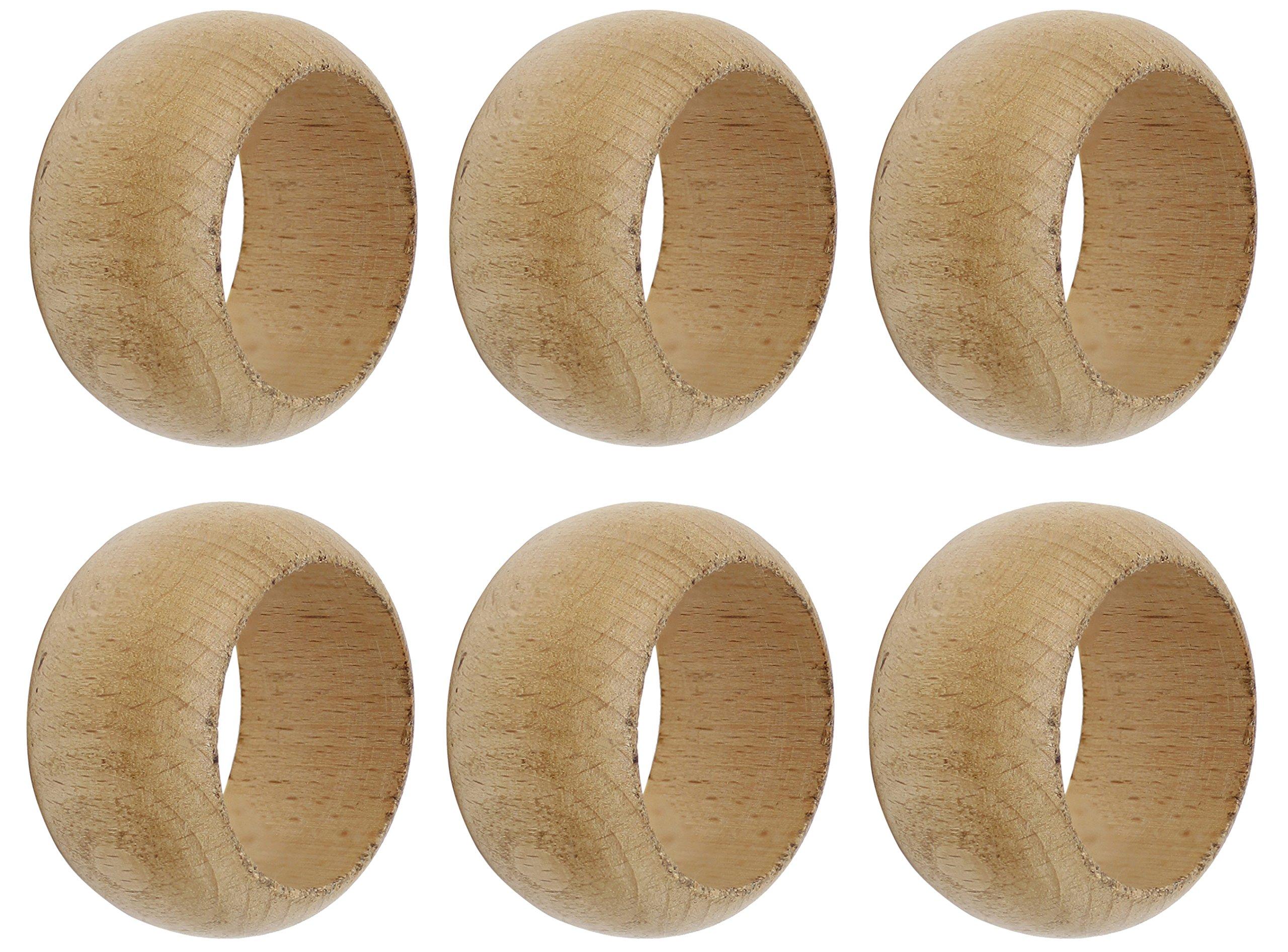 SKAVIJ Napkin Rings Set of 6 Brown for Wedding Banquet Table Dinner Decor Favor Natuaral Wood