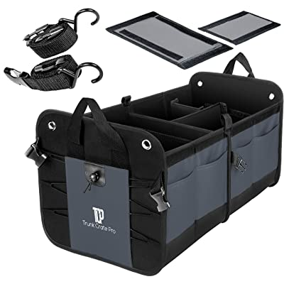 TRUNKCRATEPRO Premium Multi Compartments Collapsible Portable Trunk Organizer for auto, SUV, Truck, Minivan (Black) (Regular, Gray): Automotive