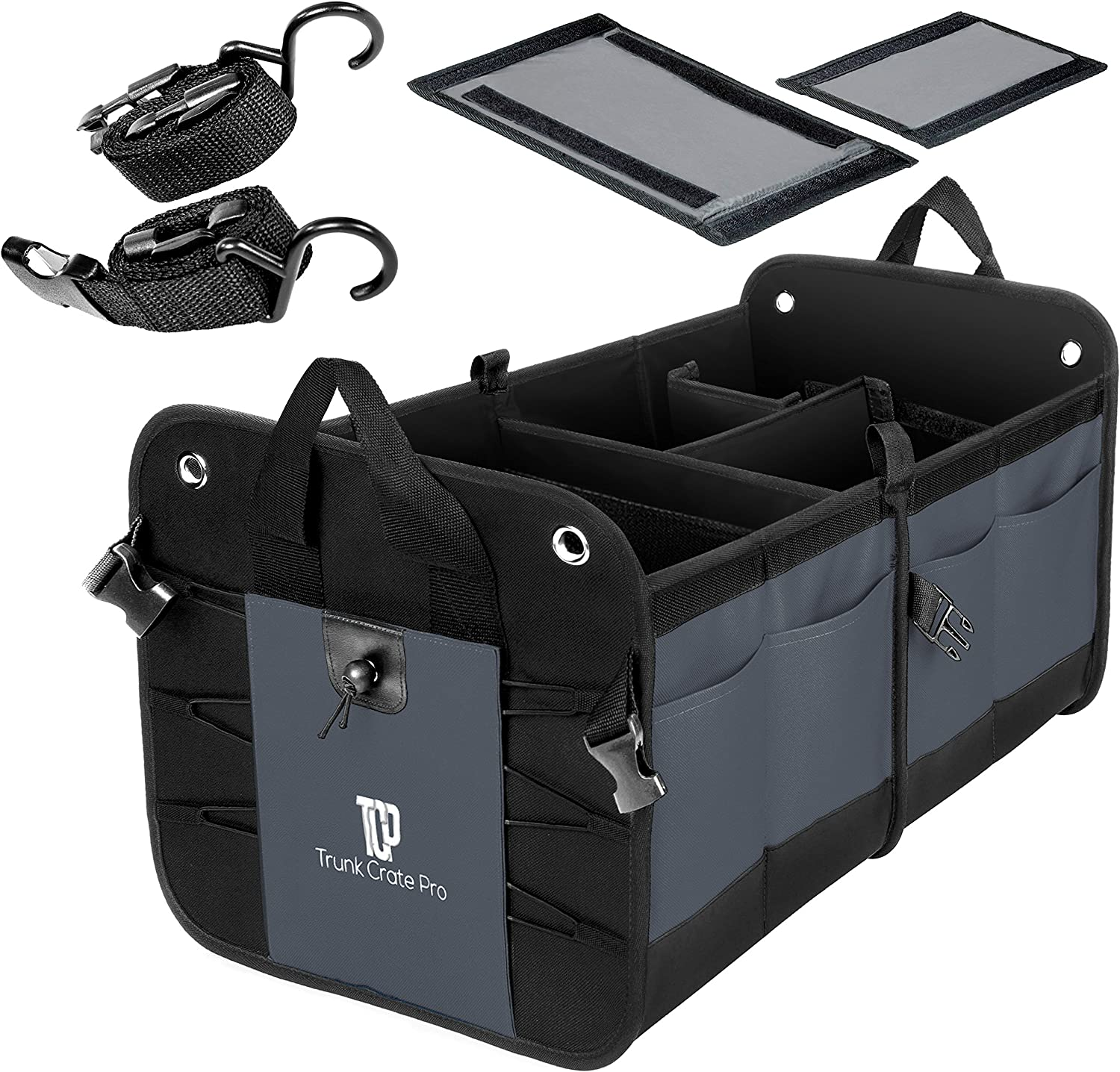 WYEWYE Car Trunk Organizer Auto Trunk Cargo Organizer with Cooler Compartment,Car Storage Box for SUV Truck Black Multi Compartments Collapsible Cargo Storage